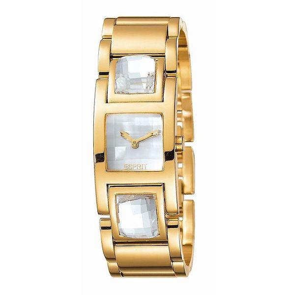 Dámské zlatě tónované hodinky s velkými krystaly Esprit