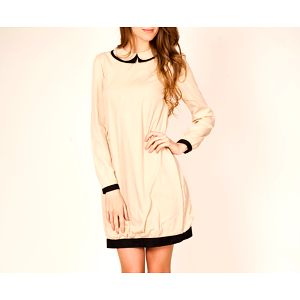 Béžové šaty s límečkem