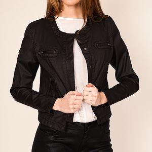Černá bunda se zapínáním na patentky