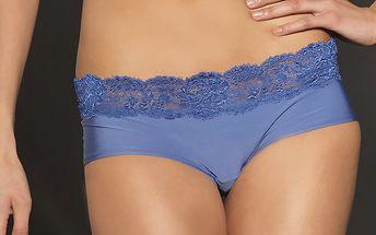 Dámské zářivě modré kalhotky After Eden s krajkou a nohavičkami