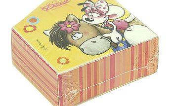 Papírová krabička se samolepkami na pásce s motivem myšky Diddliny a koníka Galupy, barva žlutá.