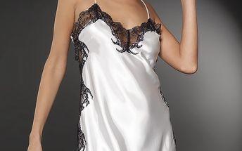 Dámská bílá saténová košilka After Eden s černou krajkou