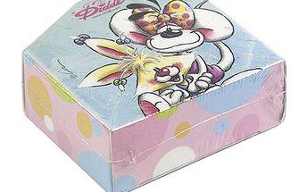 Papírová krabička se samolepkami na pásce s motivem myšky Diddliny a Mimihopps, barva modrá.