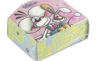 Papírová krabička se samolepkami na pásce s motivem myšáka Diddla a pejska Bibombla, barva růžová.