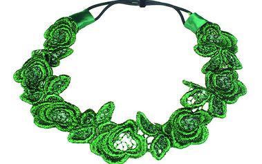 Krajková pružná čelenka zelená