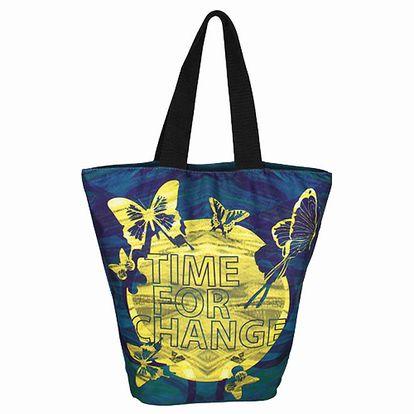 Letní dámská tmavě modrá taška Smash se žlutým potiskem