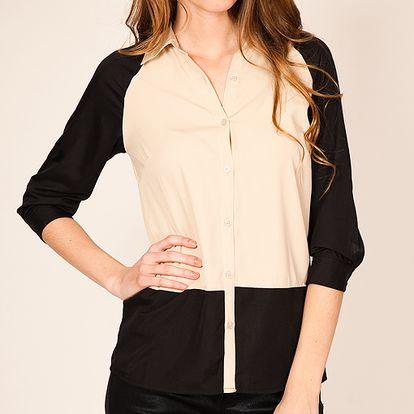 Krásná a elegantní černo-béžová košile