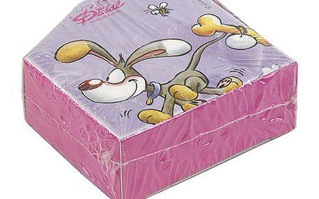Papírová krabička se samolepkami na pásce s motivem pejska Bibombla z kolekce Diddl a jeho přátelé, barva fialová.