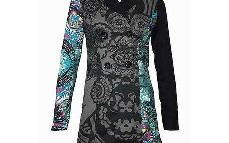 Dámský černo-šedý kabát Smash s modrými detaily