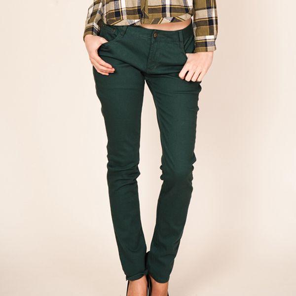 Zelené úzké kalhoty