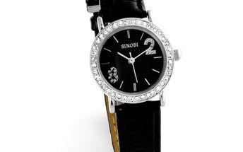 Dámské hodinky Sinobi černé s krystaly