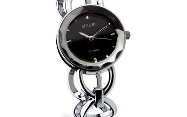 Dámské hodinky Sinobi stříbrné černý ciferník
