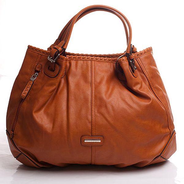 Oranžová kabelka s boční kapsou