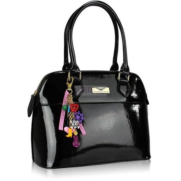 Dámská lakovaná kabelka černá