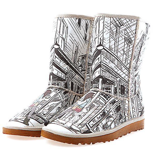 Dámské krémové boty Elite Goby s černobílým potiskem