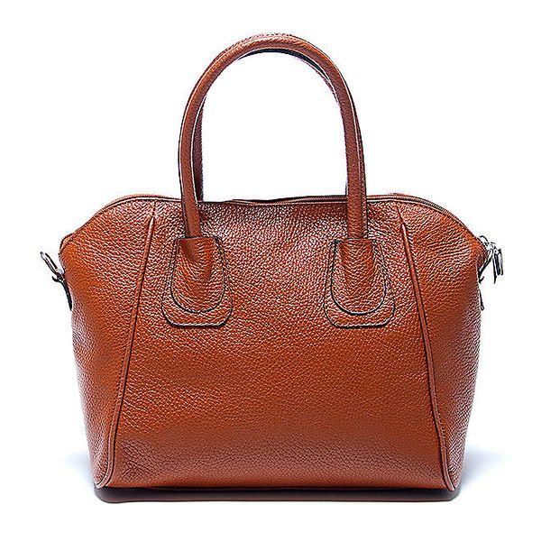 Elegantní koňaková kožená kabelka Renata Corsi