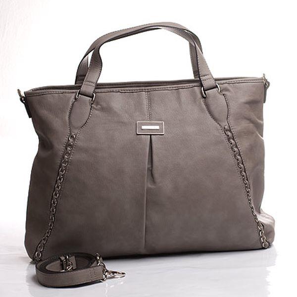 Šedo-béžová kabelka s kovovými detaily