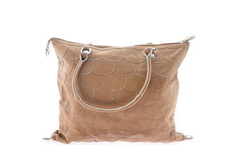 Dámská světle hnědá kožená kabelka s šupinkami Marina Galanti