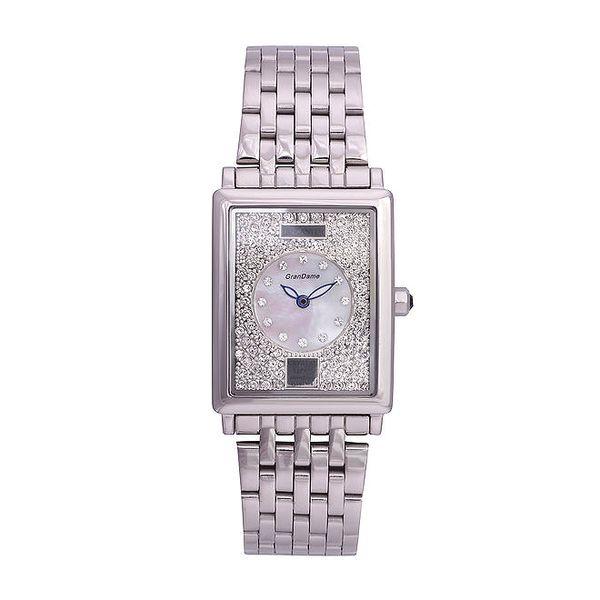 Dámské stříbrné ocelové hodinky Lancaster s krystaly a modrými ručičkami