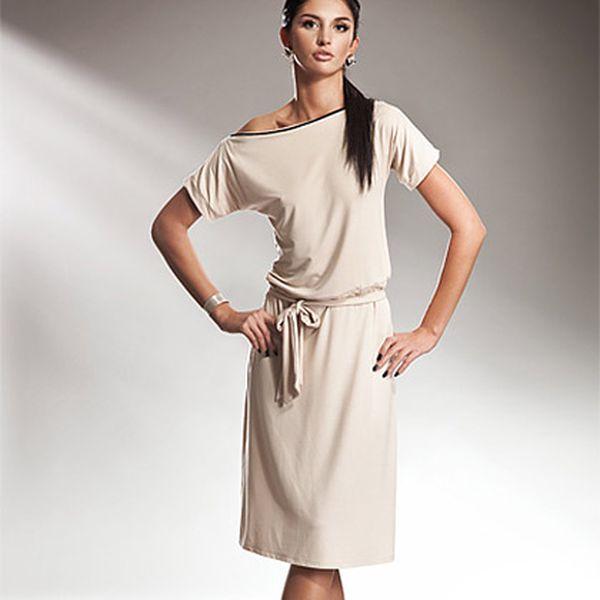 Smetanové šaty s mašlí (Nife)