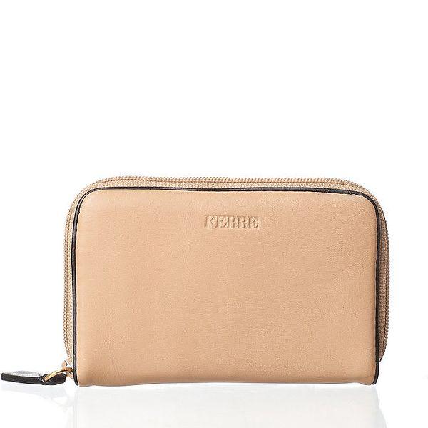 Světle béžová kožená peněženka Gianfranco Ferré s tmavě hnědým lemem