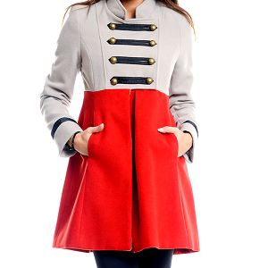 Dámský šedo-červený vojenský kabát Simonette