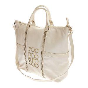 Dámská velká bílá kabelka Roccobarocco se zlatou výšivkou
