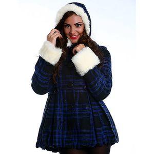 Dámský černo-modrý károvaný kabát s bílým kožíškem Simonette