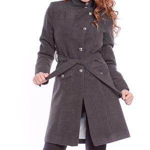 Dámský šedý kabát s páskem Bella