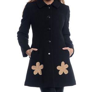 Dámský černý kabát s květinami Bella