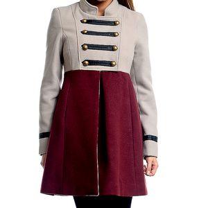 Dámský šedo-vínový vojenský kabát Simonette