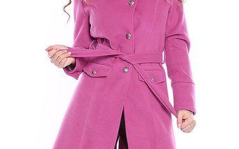 Dámský fuchsiový kabát s páskem Bella