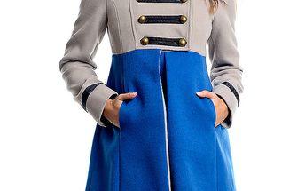 Dámský šedo-modrý vojenský kabát Simonette