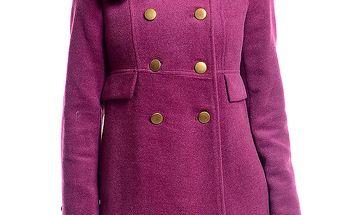 Dámský vřesově fialový kabát s květinou Simonette