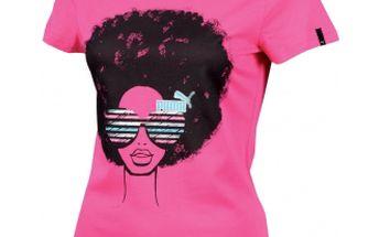Dámské triko - Puma AFRO STYLE TEE růžová se zajímavou grafikou