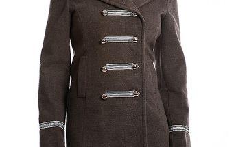 Dámský šedý kabát s vojenskými prvky Simonette