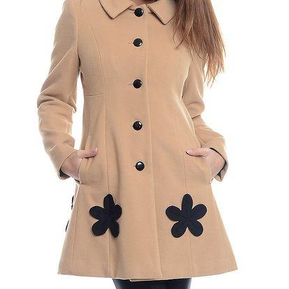 Dámský béžový kabát s černými květy Bella