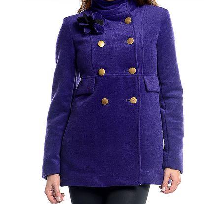 Dámský ultramarínový kabát s květinou Simonette