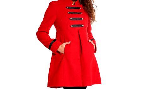 Dámský červený kabátek s vojenskými prvky Simonette