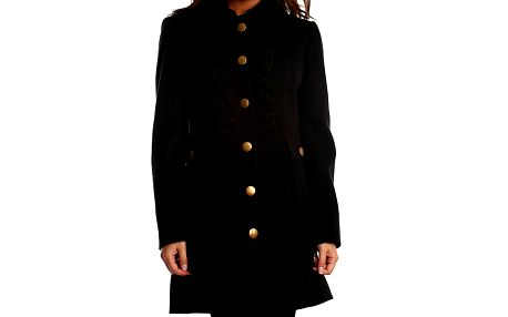 Dámský černý kabát s volánkovým fiží Simonette