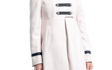 Dámský bílý kabát s vojenskými prvky Simonette