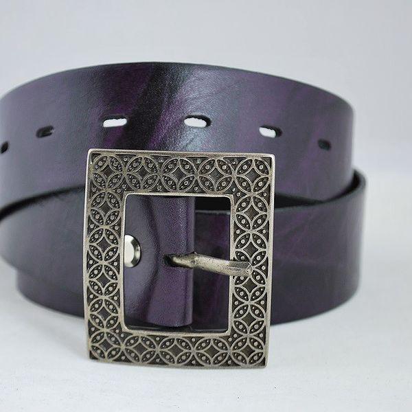 Luxusní dámský pásek kožený fialový 88-4 85cm
