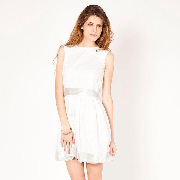 Dámské bílé šaty s lesklými lemy Tantra
