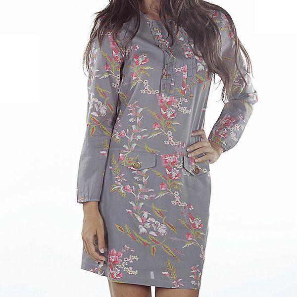 Dámské šedé šaty s květinovým potiskem