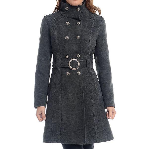 Dámský šedý dvouřadý kabát Oriana