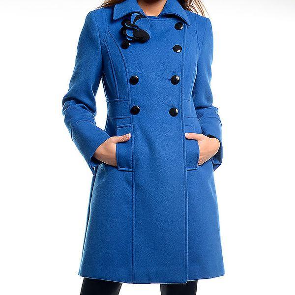 Dámský modrý kabátek s květinou Estella