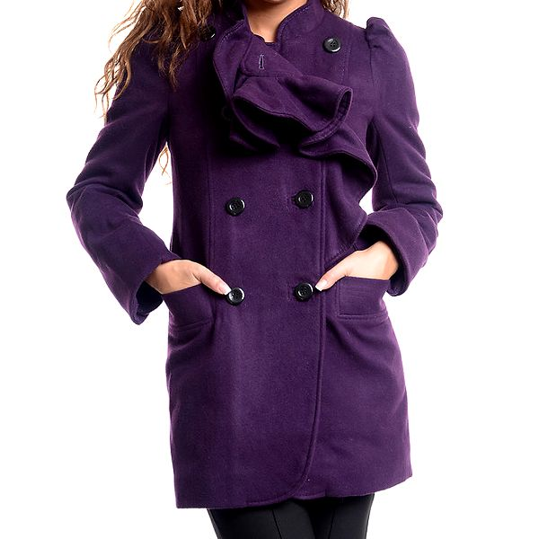 Dámský fialový kabát s ozdobným kanýrem Oriana