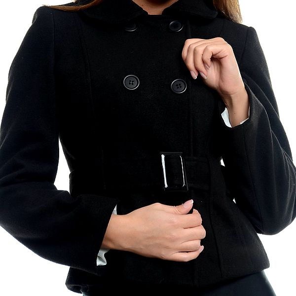 Dámský krátký černý kabátek s přezkou Estella
