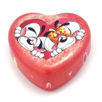 Nádherná kovová šperkovnička ve tvaru srdce s motivem myšáků Diddla a Diddliny, barva červená.
