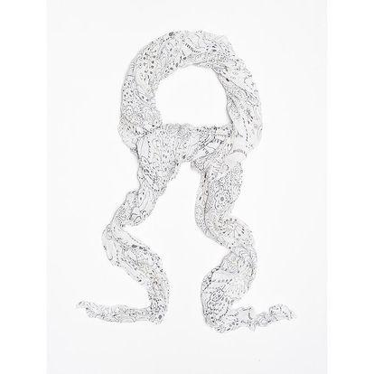Dámský bílý šátek s futuristickými květinami Bella Rosa